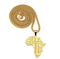 Carte de l'Afrique Pendentif en or collier avec la chaîne cubaine de Hip Hop Bijoux Hommes Femmes Mode Bijouterie pour le cadeau