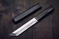 Top Quality Giappone VG10 Damasco Steel Acciaio Tanto Punto Punto Blade Ebano Maniglia Fixed Blades Coltelli con coltello da collezione Guaina in legno