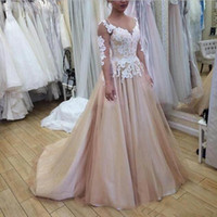 2019 Champagne Evening Dresses Jewel Sheer Neck Prom Gowns With White Applique A-Line Tiered Custom Made Formal Party Gowns New Coming