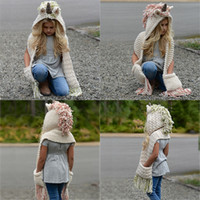 Kids unicorn scarf cap 2 in 1 Kids Infant Warm Knitted Hats ...