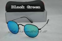 Moda Rodada Óculos De Sol Designer de Marca Óculos de Sol Espelho De Metal Preto Verde 50mm Lentes De Vidro Para Homens Mulheres Com Caixa Caso Store2012