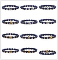 10 estilos 8mm marinha lapis pedra grânulos de prata do vintage leopardo ouro cabeça de leão encantos pulseira yoga pulseira homens buda jóias