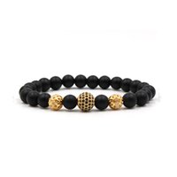 2018 New Fashion Black CZ Ball Men Bracelet 8mm Natural Ston...