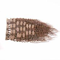 Клип в человеческих волос расширения кудрявый вьющиеся полный набор головы 9pcs 100g машина сделала Реми зажим для волос Ins 100% человеческих волос расширение