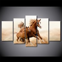 HD Printed 5 Piece Canvas Art Horse Cubs Run Carving Wall Pi...