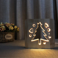 Christmas Tree 3D Wood Lamp Light Warm White Light USB Power...