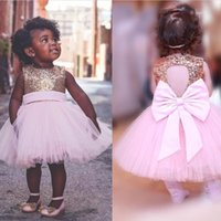 Paillettes oro Baby Pink Flower Girls Dresses Sweetheart Bow Back Tutu Gonna Princess A Line Abiti da festa