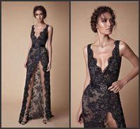 2019 novo modesto moda com decote em v sexy comprimento total berta evening evening dress preto lace frisada dividida prom pageant vestidos de vestido de noiva