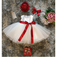 Vestido branco para menina batismo roupas 1 ano bebê menina vestido de aniversário princesa fita vermelha curva natal crianças vestidos para meninas