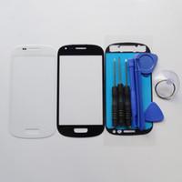 Samsung Galaxy S3 Mini GT-i8190 LCD Dokunmatik Ekran Sayısallaştırıcı Ön Cam Lens Araçları Yapışkan etiketler için Siyah Mavi Beyaz Dış Cam