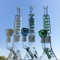 Construire Bong Freezable Beaker Bongs condenseur Coil Dab Rig Deffused Downstem vert Bong eau Straight Pipe Tube Construire une Bong