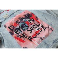 Graffiti Appliques Hip Hop Jeans jaqueta Homens 2018 Outono Girl-Down Collar Lavagem Material Denim Casacos para Homens Casacos Casuais