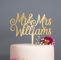 Caligrafía personalizada Mr Mrs Wedding Cake Topper Madera Rosa Oro