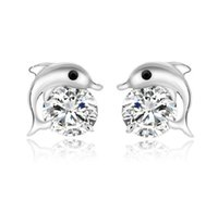 Natural Austrian Rhinestone Crystal Dolphin s925 Sterling si...