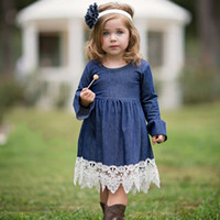 Autumn Spring Girls Princess Denim Dress Children Clothing L...