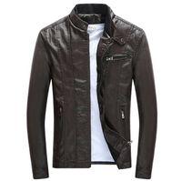 İlkbahar Sonbahar Erkek PU Deri Ceketler Standı Yaka Mont Erkek Motosiklet Ince Giyim Erkek Giyim