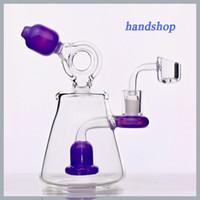 Berretto in vetro riciclato di alta qualità, colori vivi, rig olio 7''tallico gorgogliatore con forma a sprinkler di design speciale