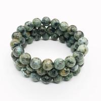 Pulsera de turquesa africana de 10 mm, pulsera de piedras preciosas, cuentas redondas de turquesa, pulsera elástica, pulsera de buena suerte