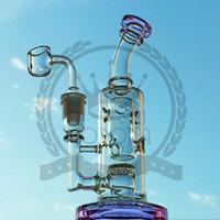Corona Glass Bong Dab Rig tubo di acqua Bong alti Tubi grande olio narghilè rigs inebriante gorgogliatore cenere collettore cera quarzo banger caffettiera viola