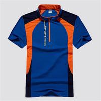유럽 러시아 잘 생긴 청년 블루 그린 패치 워크 티셔츠 남성 캐주얼 스포츠 탄성 슬림 빠른 건조 만다린 칼라 지퍼 티 셔츠 탑