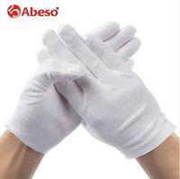 ABESO 2 çift / grup için Beyaz% 100% Pamuk Töreni eldiven erkek kadın Hizmet / Garsonlar / sürücüleri / Takı Eldiven A6001