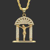 Strass Christus Jesus Anhänger Halskette Geometrische Hip-Hop Lange Halskette Unisex Neue Mode-legierung Vergoldet Schmuck Zubehör Großhandel