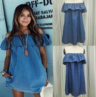 Summer Womens Dresses Boho Jeans Mini Dress Strapless Casual...