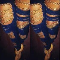 Denim azul oscuro jeans mujeres verano agujeros de primavera cadenas diseño pantalones largos pantalones de la calle Hiphop
