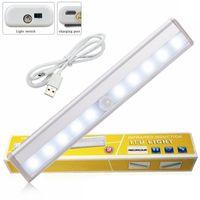 10LED 캐비닛 야간 조명 USB 충전식 PIR 모션 센서 램프 부엌 옷장 옷장 야간 램프