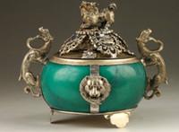 Vintage Collection handgemachte alte Tibet Silber Dragon Jade Weihrauch-Brenner