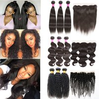 Mink Brazilian Virgin Human Hair Weave Bundles with 13x4 Lac...