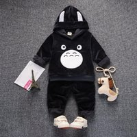 Çocuklar Giyim Suits Çocuk Erkek Kız Kadife Hoodies Pantolon 2 adet / takım Erkek Bebek Giysileri Kış Yürüyor Eşofman