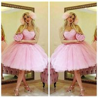 Stunning Sweetheart Pink Abiti da homecoming Pizzo Plus Size Tulle A-Line Lunghezza al ginocchio 2018 Abito da ballo corto Cocktail Party Club Wear