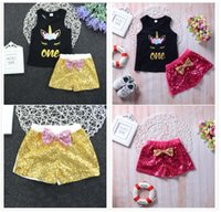 Kids baby Girl Unicorn Clothes set artoon Vest T- shirt+ sequi...