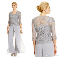 2018 Vintage Silver Mother Of the Bride Vestidos de novio con pantalones Trajes de manga larga chaqueta de encaje madre de la novia pantalón Modest traje de la madre