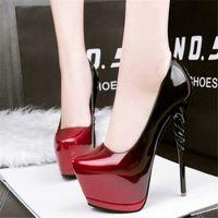 وأشار 2018 الأوروبية الأمريكية مثير عالية الكعب مع الأحذية الفم الضحلة الفم ماء منصة التدرج الأزياء رقيقة الأحذية النسائية