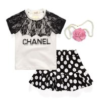 Summer new cool girl fashion set   letter lace lace T- shirt ...