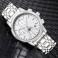 모든 하위 다이얼 작업 망 시계 스포츠 남성용 스테인레스 스틸 밴드 쿼츠 시계를위한 스포츠 남성 빛나는 방수 손목 시계