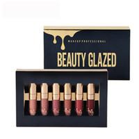 Beauty Glazed Gold Cosmetics Birthday Edition 6pcs Set Lipgloss Cosmetics Matte Liquid Lápiz labial Lipgloss Lip Gloss Kit Beauty Glazed