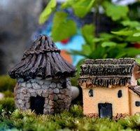6 Styles Moss Micro Landscape Resin Mini Stone House Fairy Garden Decor Bonsai creativo fai da te Mini Cottage Artigianato