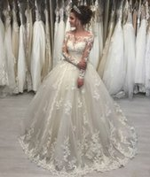 Illusion Scoop Ball Gown Principessa Abiti da sposa Sheer Maniche lunghe in pizzo Abiti da sposa See Though Back robe de mariee 2018