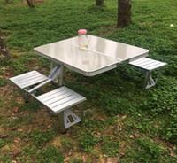 الجدول نزهة لمدة 4 أشخاص التخييم في الهواء الطلق للطي طاولة وكرسي سبائك الألومنيوم الاثنان الجدولسهل للقيام الشواء ونزهة الجدول