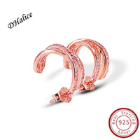Authentic 100% 925 Sterling Silver Rose gold Entwined Hoop E...