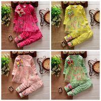 Venta al por mayor Primavera otoño ropa para niña Ropa de manga larga floral vestido de flores vestido + pantalones 2 piezas de algodón 4 colores