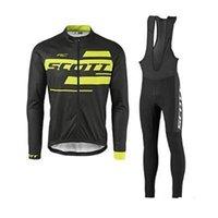 2021 새로운 Scott 팀 사이클 긴 소매 저지 턱받이 바지 세트 망 퀵 드라이 Ropa Ciclismo MTB 자전거 옷 경주 스포츠웨어 Y21040103