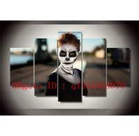 Halloween Skull Face Girl, 5 pezzi Stampe su tela Wall Art Oil Painting Home Decor / (Senza cornice / Incorniciato)