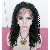 Kinky Curly Full Lace Wig Virgin Human Hair Natural Color Pr...