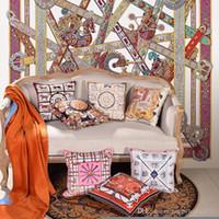 Luxe classique super doux velours Geome chaîne tprinting Signage H canapé housse de coussin taie d'oreiller 45 * 45 cm Décoration Décoration Noël Famille cadeau