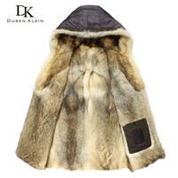 Luxury Wolf fur for men Thick jackets long coats Designer fa...