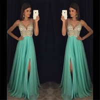 V Neck Sheer Hand Beading Blue Crystals Long Prom Dresses Fl...
